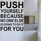 Push Yourself Gym Inspirational Quote Wall Art Office Sticker Decor Motivational