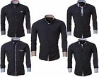Salvin Herren Hemden Schwarz Businesshemd Shirts Slim Fit Oberhemd S M L XL XXL