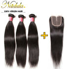 Brazilian 4*4 12inch Lace Closure Free Middle Three Part With Straight Hair Weft