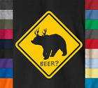Funny Deer BEER ? Drinking Party T-Shirt 100% Ringspun Cotton College Humor Tee