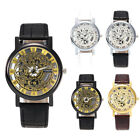 Hot Luxury Watch Mens Hollow Quartz Military Sport Faux Leather Dial Wrist Watch