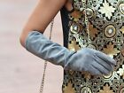 """40cm(15.75"""") long fashion real suede leather evening elbow gloves grey"""