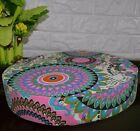 af253r Blue Pink Flower Cotton Canvas 3D Round Seat Cushion Cover Custom Size
