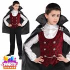 Childrens Boy Dark Vampire Dracula Halloween Costume Fancy Dress Outfit