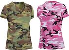 Women's Long Length Camo V-Neck T-Shirt - Rothco Woodland or Pink Camouflage Tee