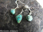 AFRICAN TURQUOISE gemstone EARRINGS & PENDANT wicca ethnic raw tumbled