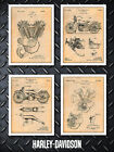 Harley Davidson Patent Poster Prints - Set of 4 - Unframed $84.99 USD