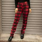 Tartan Checked Punk Rockability Skinny Stretch Trousers - Red & Black