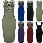 Womens Ladies Floral Lace Gold Trim Low Back Bandage Bodycon Midi Party Dress