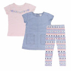 Girl Carter's PW-VC Set 3-Piece Chambray Top&Legging Set &pink T-shirt