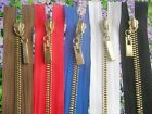 METAL ZIP, BRASS TEETH, OPEN ENDED, No 5. Different Sizes & Colour