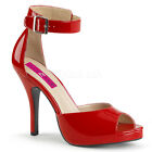 Red Pinup Sandals Mens Peep Toe Tranny Crossdresser Shoes Womans size 12 13 14