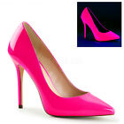 Neon UV Pink 80s Barbie High Heels Drag Queen Mens Large Size Shoes 11 12 13 14
