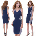 Retro Classic Sleeveless V-Neck Business Work Formal Bodycon Ladies Pencil Dress