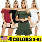 Sexy Women Off Shoulder Ruffles Evening Party Prom Knit Bodycon Slim Short Dress