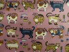 Cat Breeds Pink Cotton Fabric Material Craft Quilt FQ Metre Kitty Cute Kittens