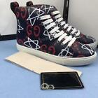 Mens Leather High Top Embroidery Sneakers Board Casual Shoes Sports Ankle Boot