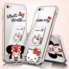 Mirror Cute Mickey Minnie Mouse Case For iPhone X 8 7 6 Plus 5 Ring Holder Cover