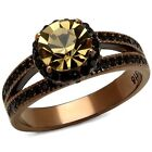 Women's Brown Plated Stainless Steel 3.35Ct Round Smoked Crystal Engagement Rin