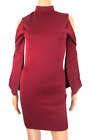 Boohoo Berry Wine Split Sleeve Cut Out Cold Shoulder Bodycon Dress Choker High