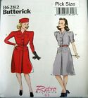 Butterick Sewing Pattern 6282 Ladies 8-16 Retro 40s Tailored Shirt Dress