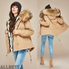 Top Women Large Raccoon Fur Collar Rabbit fur liner Hood Jacket Short Coat Parka