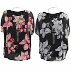 Women's Chiffon Overlay Lined Flower Floral Print 3/4 Sleeve Blouse Top Necklace
