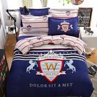 Single Queen Double Size Bed Set Pillowcase Quilt Duvet Cover Lorem FitUS
