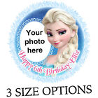 Elsa from Frozen icing cake topper personalise with photo & message
