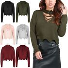 Womens Ladies Chunky Knit Choker Neck Scallop Edges Eyelet Lace Up Cropped Top