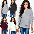 Womens Ladies Batwing Knit Sweater Long Sleeve Oversized Loose Jumper Pullover