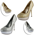 NEW WOMENS GLITTER HIGH HEEL LADIES PLATFORM WEDDING PARTY COURT SHOES SIZE 3-8