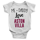 Me + Daddy Love Aston Villa Babygrow Cool Body Suit Football Baby Boy Gift