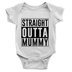 Straight Outta Mummy Babygrow Funny Joke Hip Hip Old School Body Suit Gift