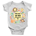 Be My Godparents Babygrow Announcement Question Animals Body Suit