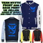 Personalised TEAM MYSTIC Varsity Jacket gamer tag poke mon front back arm print