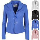 Womens Ladies Waffle Collared Long Sleeve Pockets Buckle Jacket Coat Blazer Top