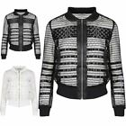 Womens Ladies Collar Quilted Contrast Fishnet Zip Up Coat Cropped Bomber Jacket