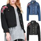 Womens Ladies Front Buttons Pockets Collared Rose Embroidered Crop Denim Jacket