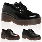 NEW WOMENS BROGUE CHUNKY AUTUMN LADIES LACE UP RUBBER BLOCK HEEL SHOES SIZE 3-8