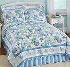Twin  Beach Sea Shells Coastal Seashell Quilt