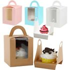1/5/10/20 Pcs Single Cupcake / Muffin / Fairy Cake Boxes With Clear Window Box