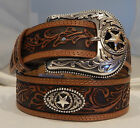 Justin New RANCH STAR CONCHO Leather Belt Size 36 Made in USA NWT C12424