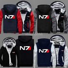 Game N7 Mass Effect Zipper Hoodie Sweatshirt Thicken Coat Cosplay costume