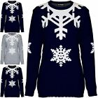 Womens Ladies Christmas Xmas Snowflakes Chunky Knitted Festive Pullover Jumper