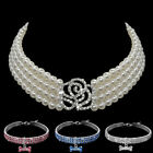 Bling Rhinestone Dog Collars Small Doggie Pet Puppy Pearl Necklace for Poodles