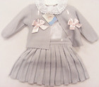 Muchas Loves VB Grey Knitted Pleated Skirt with Ribbon Slot Cardigan and Fri