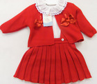 Muchas Loves VB Baby Red Knitted Pleated Skirt with Ribbon Slot Cardigan and Fri