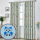 Thermal Blackout Owl Pair Of Curtains Ready Made Eyelet Room Darkening Curtains