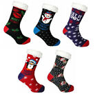 NEW WOMEN'S HEAT MACHINE SHERPA KNITTED NOVELTY CHRISTMAS SANTA SLIPPER SOCKS